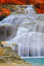 Waterfalls, autumn, trees, red leaves