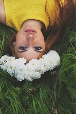 Preview iPhone wallpaper Wonderful picture, beautiful girl, flowers, wreath, grass