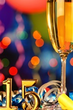 2015 New Year, champagne glasses
