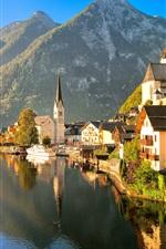 Austria, Hallstatt, Salzkammergut, autumn, house, lake, mountains, sunlight