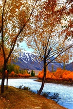 Preview iPhone wallpaper Autumn scenery, trees, red leaves, lake, path, mountains