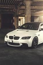 BMW M3 E92 white car, sunlight