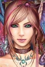 Preview iPhone wallpaper Beautiful fantasy girl, green eyes, brown hair