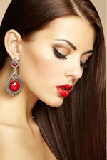 Preview iPhone wallpaper Beautiful makeup girl, earring, fashion