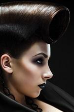 预览iphone壁纸 黑头发的女孩,创意发型图片