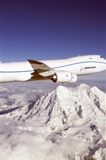 Preview iPhone wallpaper Blue sky, Boeing 747 aircraft, mountains, clouds