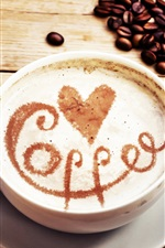Cappuccino, coffee, beans, love hearts