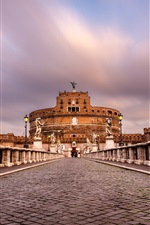 Preview iPhone wallpaper Castel Sant'angelo, Rome, Italy, paving stone, sculpture