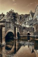 Preview iPhone wallpaper Castle Combe, Wiltshire, England, bridge, river, dusk