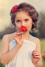 Criança, linda menina, flores