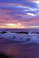 Preview iPhone wallpaper Coast, beach, rocks, sea, waves, sunset