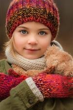 Menina bonito, sorriso, retrato, chapéu