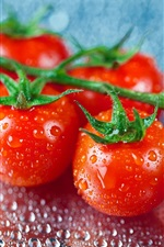Preview iPhone wallpaper Fresh fruit, tomatoes, water drops