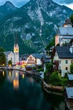 Preview iPhone wallpaper Hallstatt, Salzkammergut, Austria, mountains, evening, lake, boats, houses