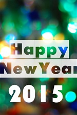 Preview iPhone wallpaper Happy New Year 2015, colorful lights