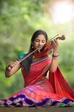 Indian girl, violin, music, road