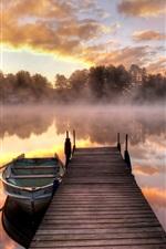 Lake, morning, fog, bridge, boat, trees, sunrise