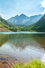Preview iPhone wallpaper Lake, mountains, trees, grass, sky, water reflection