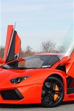 Lamborghini Aventador LP700-4 orange supercar, doors opened