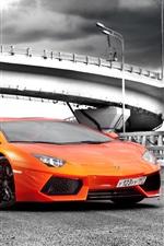 Lamborghini Aventador LP700-4 orange supercar, road, clouds