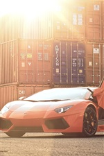 Preview iPhone wallpaper Lamborghini Aventador LP700-4 orange supercar, sun, glare