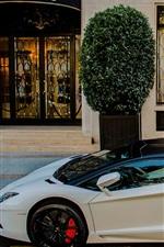 iPhone fondos de pantalla Lamborghini Aventador LP700-4 supercar blanco, casa