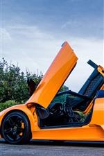 Preview iPhone wallpaper Lamborghini Murcielago LP640 orange supercar, trees, road