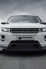 Land Rover Evoque PD650 SUV branco vista frontal do carro