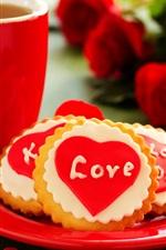Love heart, cookies, flowers, roses, cup, tea