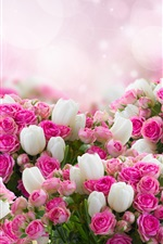Preview iPhone wallpaper Many flowers, white tulips, pink rose