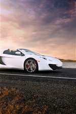 Preview iPhone wallpaper McLaren MP4-12C Spider white supercar, sunset, road