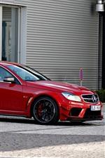 iPhone fondos de pantalla Mercedes-Benz C63 AMG Coupé coche rojo vista lateral