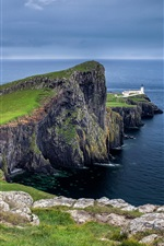 Preview iPhone wallpaper Neist Point, Scotland, sky, clouds, lighthouse, rocks, coast