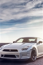 Preview iPhone wallpaper Nissan R35 GTR white car, sun, sky