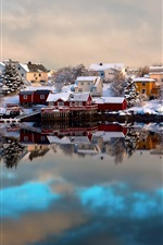 Preview iPhone wallpaper Norway, Lofoten, winter, house, snow, boats, water reflection