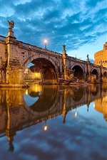 Preview iPhone wallpaper Rome, Italy, Vatican, St. Angelo Bridge, lights, river