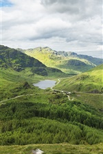 Preview iPhone wallpaper Scotland, mountains, forest, road, lake, green, clouds