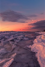 Preview iPhone wallpaper Snow, ice, lake, trees, sunrise, winter