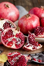 Preview iPhone wallpaper Still life of fruits, red pomegranate