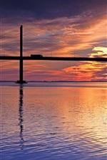 미리보기 iPhone 배경 화면 일몰, 강, 다리, 붉은 하늘