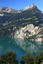 Preview iPhone wallpaper Switzerland, Morschach, mountains, lake, nature scenery