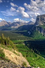 USA, Montana, canyon, trees, nature, clouds