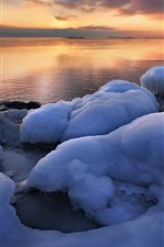Preview iPhone wallpaper Uppland, Sweden, winter, sea, ice, sunrise
