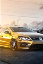 Volkswagen Passat CC gold car, sunlight