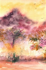Preview iPhone wallpaper Watercolor painting, landscape, trees, birds, leaves, grass
