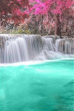 Preview iPhone wallpaper Waterfalls, forest, river, autumn