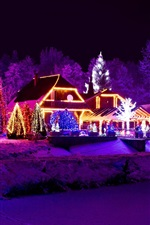 Preview iPhone wallpaper Winter, night, lights, new year, house, lake