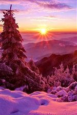 Preview iPhone wallpaper Winter, sky, sunset, mountains, forest, trees, spruce, snow