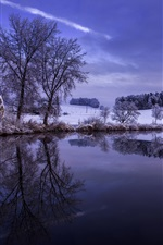 Winter, snow, trees, hills, river, sky, reflection, dusk