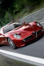 Preview iPhone wallpaper Alfa Romeo 8C red supercar